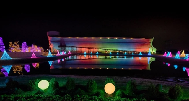 The Ark is lit up with a big totally-not-gay rainbow.