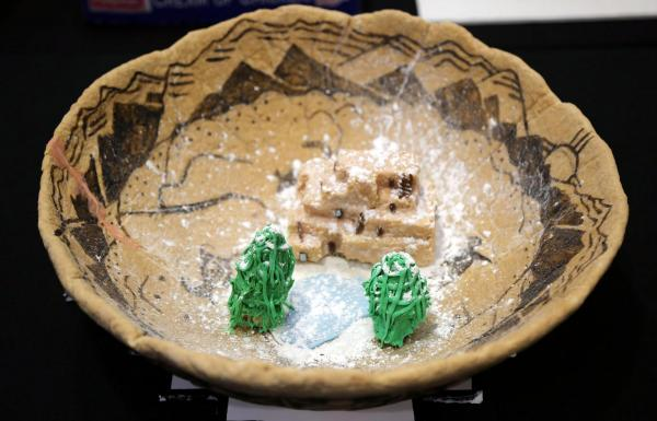 Courtesy IPCC Pueblo Gingerbread House Contest submission includes a mini Pueblo building structure in a decorated bowl. Note: The submission is entirely edible.