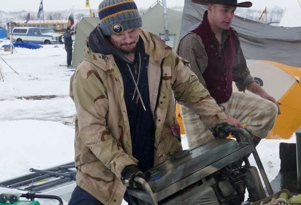 Veteran Matthew Crane says soldiers like him have skills and training that could be useful in the Oceti Sakowin Camp. (Angela Johnston/CBC).