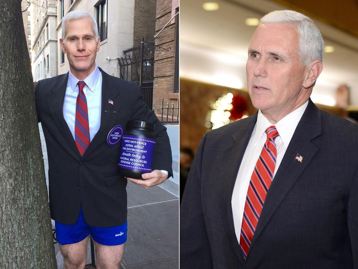 The resemblence between Mike Hot-Pence (Glen Pannell, left) and VP-elect Mike Pence (right) is uncanny. Just, one wears pants, the other doesn't.