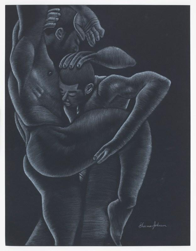 Lovers Lane, 2016, Sharmar Johnson White pencil Black paper, 22x28.