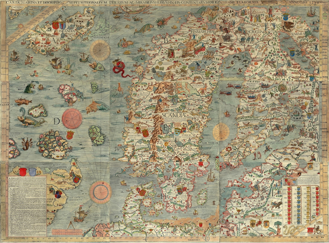 "Sea monsters on Olaus Magnus's ""Carta marina et description septemtrionalium terrarum ac mirabilium"" (""Nautical Chart and Description of the Northern Lands and Wonders"") (1527–39)."