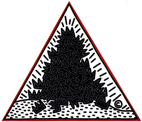 A Pile of Crowns, for Jean-Michel Basquiat, 1988, Keith Haring acrylic on canvas, 108x120, Keith Haring artwork © Keith Haring Foundation.