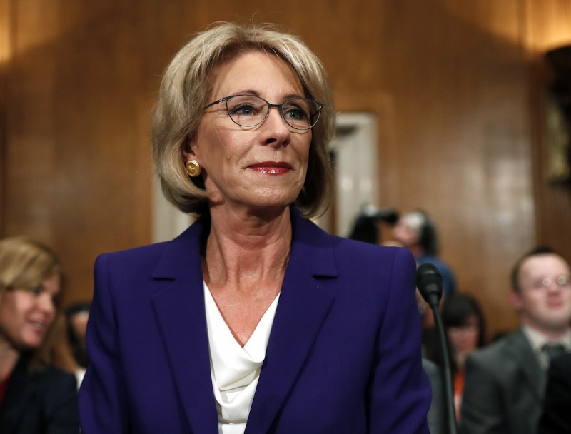 Education Secretary-designate Betsy DeVos arrives before testifying on Capitol Hill in Washington, Tuesday, Jan. 17, 2017, at her confirmation hearing. CREDIT: AP/Carolyn Kaster.