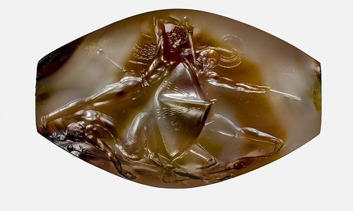 Due to the seal's small size and veining on the stone, many of the miniature details are only clearly visible via photomicroscopy. (all images Courtesy of The Department of Classics, University of Cincinnati, and used with permission).