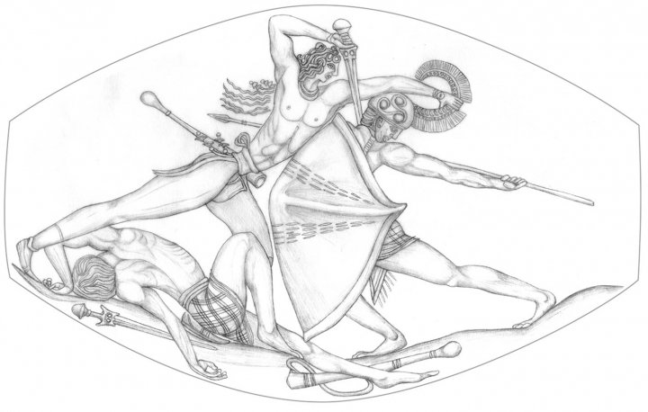 Drawing of the detailed combat scene captured on an agate sealstone discovered by the University of Cincinnati's Sharon Stocker and Jack Davis. (images Courtesy Department of Classics, University of Cincinnati).