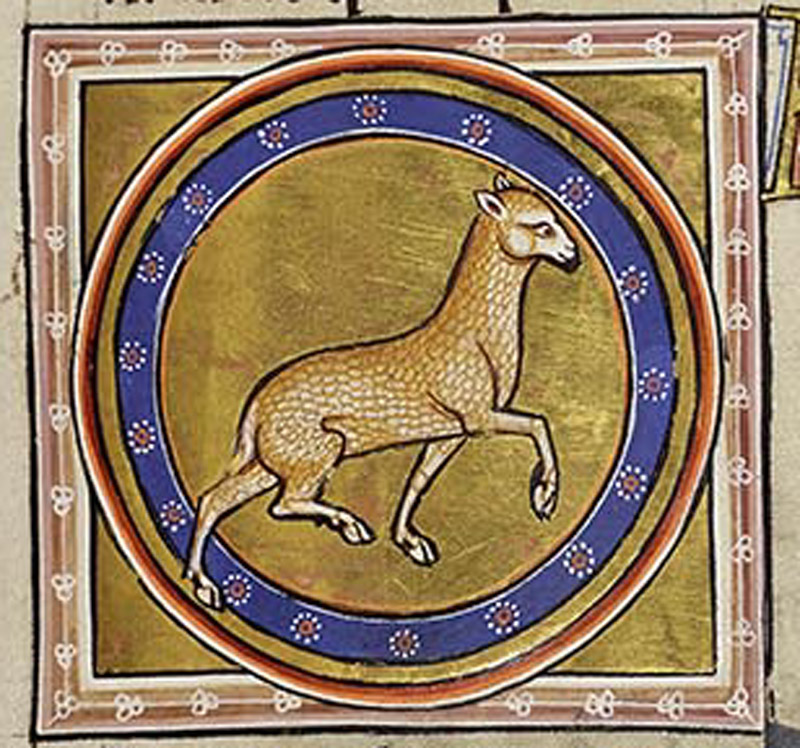 The delicate lamb skips within its roundel.