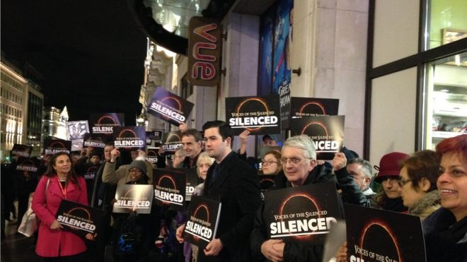 "Dozens of protesters have gathered outside a London cinema to protest against the cancellation of a screening of a film advocating therapy to ""cure"" people from being gay."