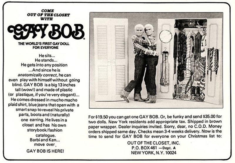 "A 1978 magazine advertisement for the Gay Bob doll. <a href=""https://flic.kr/p/8Z6npF"">Joe Wolf/CC BY-ND 2.0</a>"