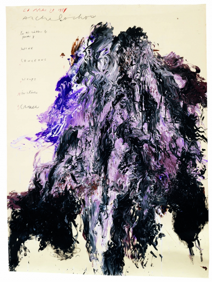 "Cy Twombly, ""Untitled (Gaeta)"" (1989), acrylic and tempera on paper mounted on wooden panel, 80 × 58 5/8 inches, Private Collection, © Cy Twombly Foundation. Courtesy Gagosian."