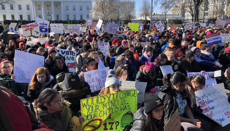 Students protest for tighter gun laws in Washington, DC, on March 14, 2018. (Photo: Bradley Williams for People For the American Way).