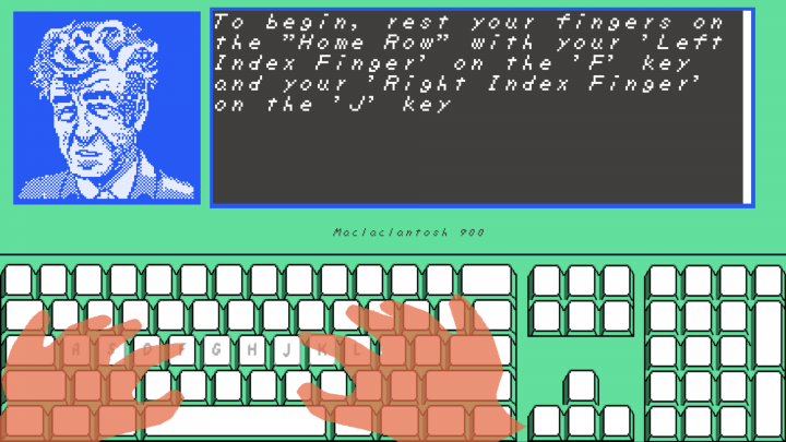 A lesson from David Lynch Teaches Typing (image via rhinostew.itch.io, used with permission).
