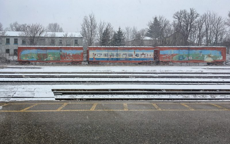 rail cars at train station
