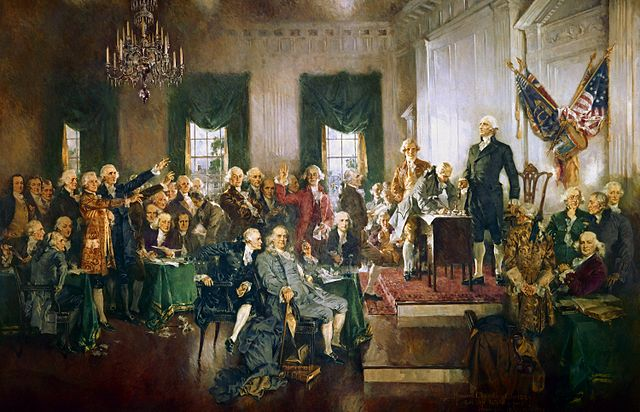 Howard Chandler Christy's Scene at the Signing of the Constitution of the United States.