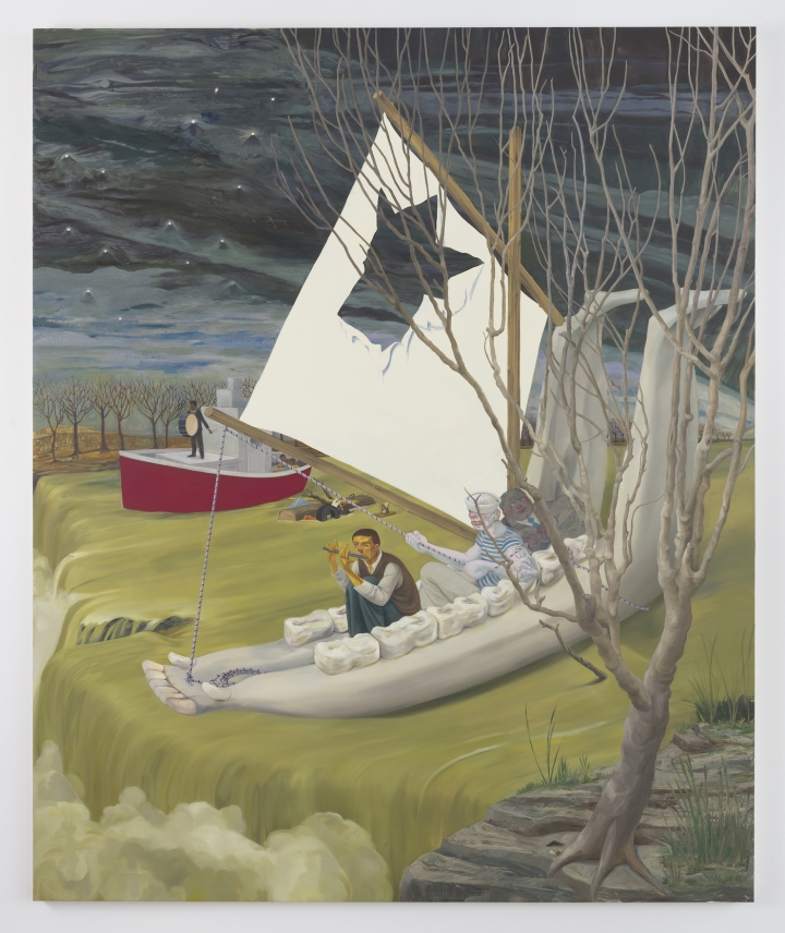 "Nicole Eisenman, ""Heading Down River on the USS J-Bone of an Ass"" (2017), oil on canvas, 127.25"" x 105"" x 1.75″(all images courtesy the artist and Susanne Vielmetter Los Angeles Projects; photo by Robert Wedemeyer)."