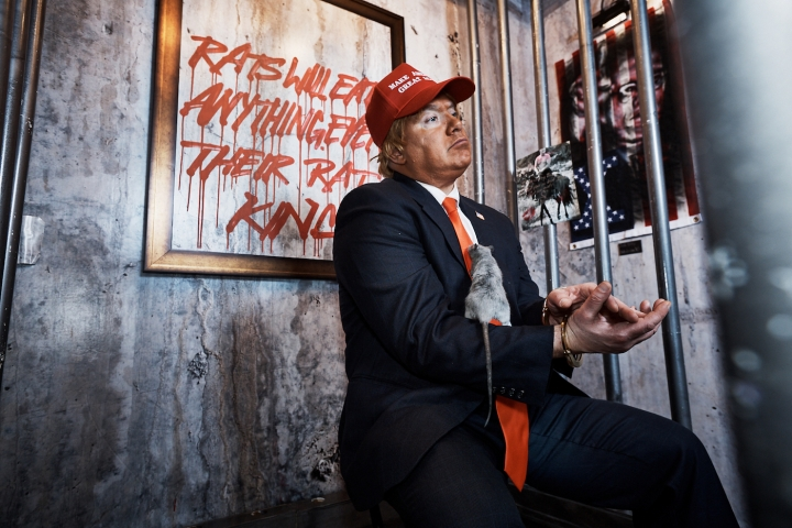 """Installation view of Indecline's """"The People's Prison"""" (2018) at the Trump International Hotel & Tower (all photos by Jason Goodrich for Indecline and used with permission, unless indicated otherwise)."""