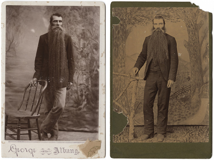 Two photographs of the same unknown man, each taken at a different studio in Texas – Source: left and right.