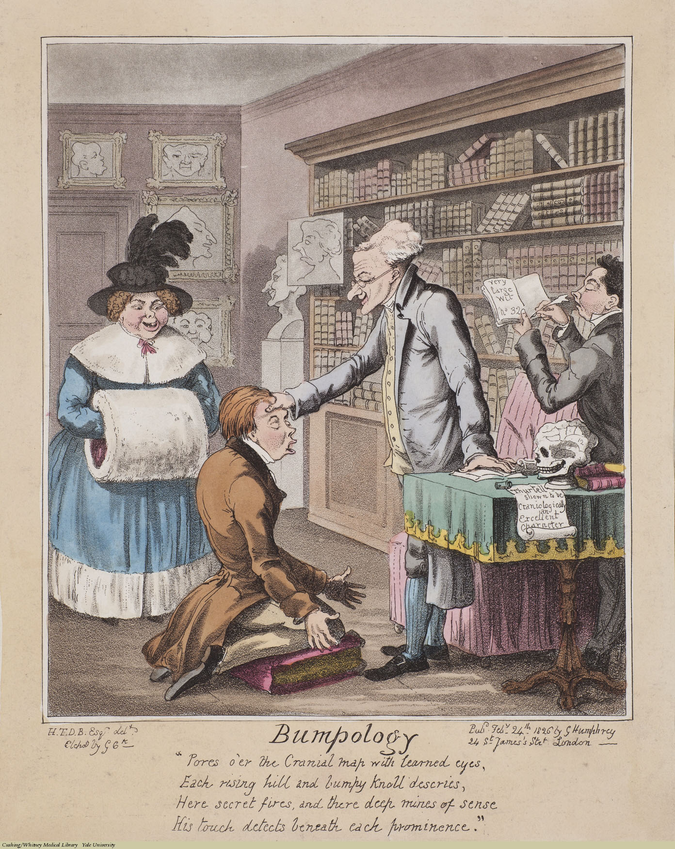 Bumpology, George Cruikshank, Aquatint coloured. Subject: James De Ville, John Thurtell, executed 1824, Phrenology.