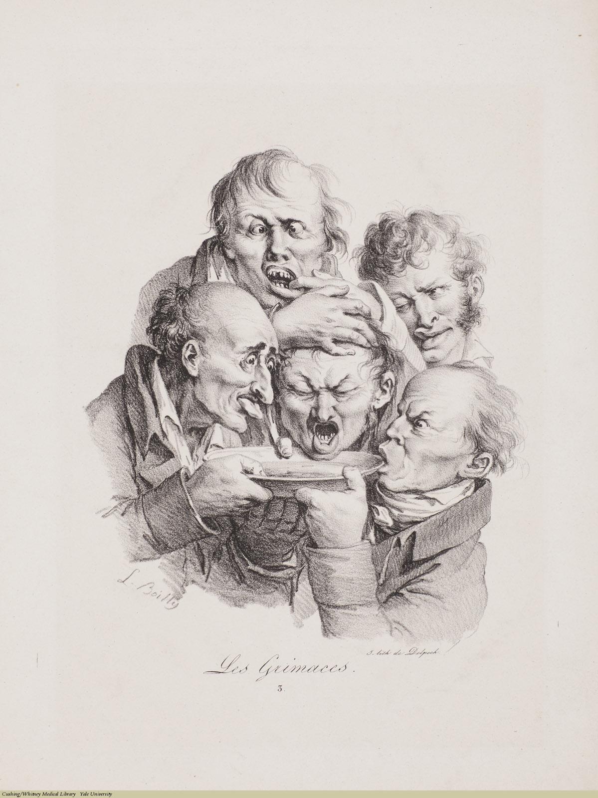 Les Grimaces 3, Louis-Léopold Boilly, Lithograph, 1823.