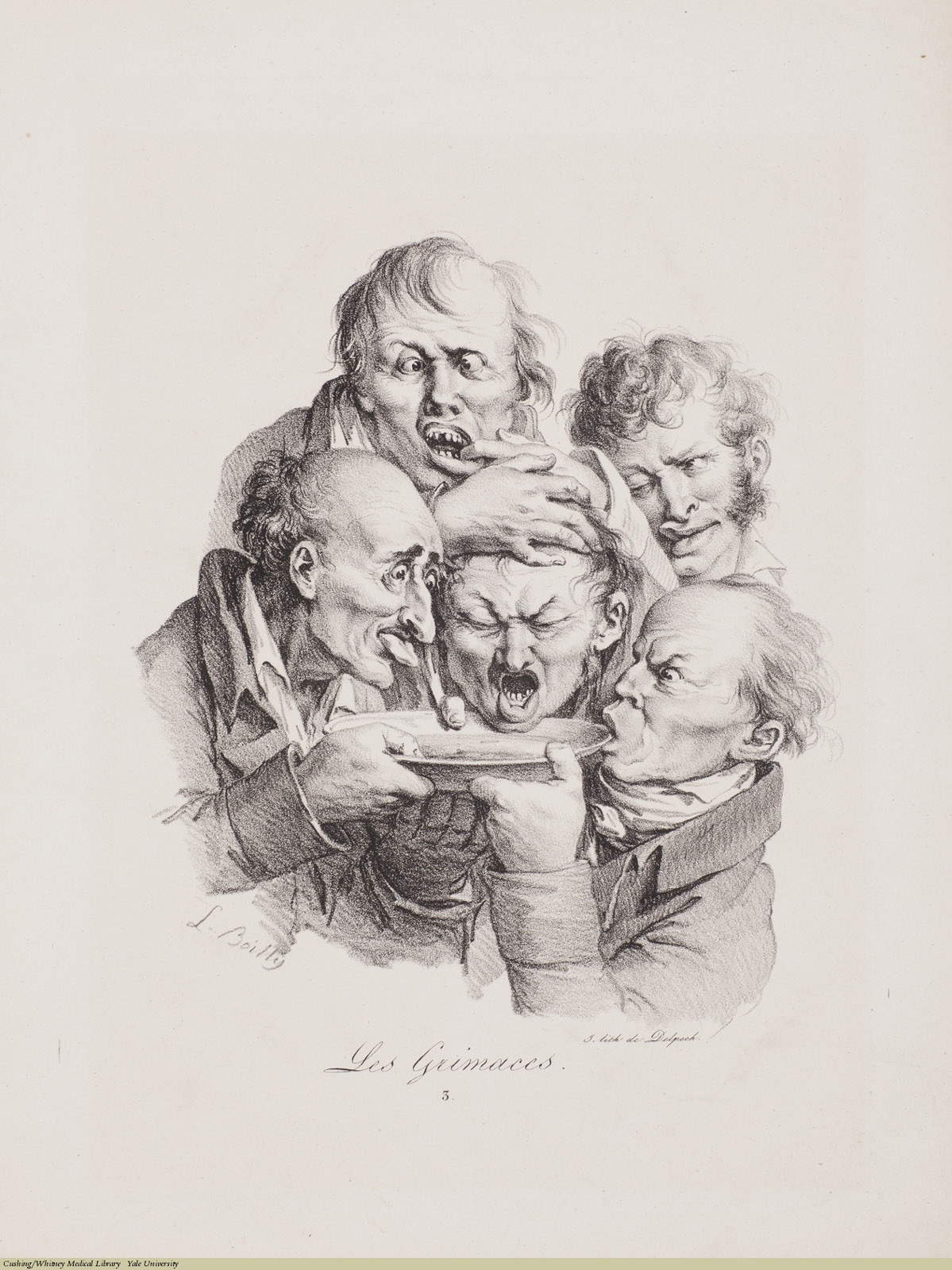 Les Grimaces 3, Louis-Léopold Boilly, Lithograph, 1823.