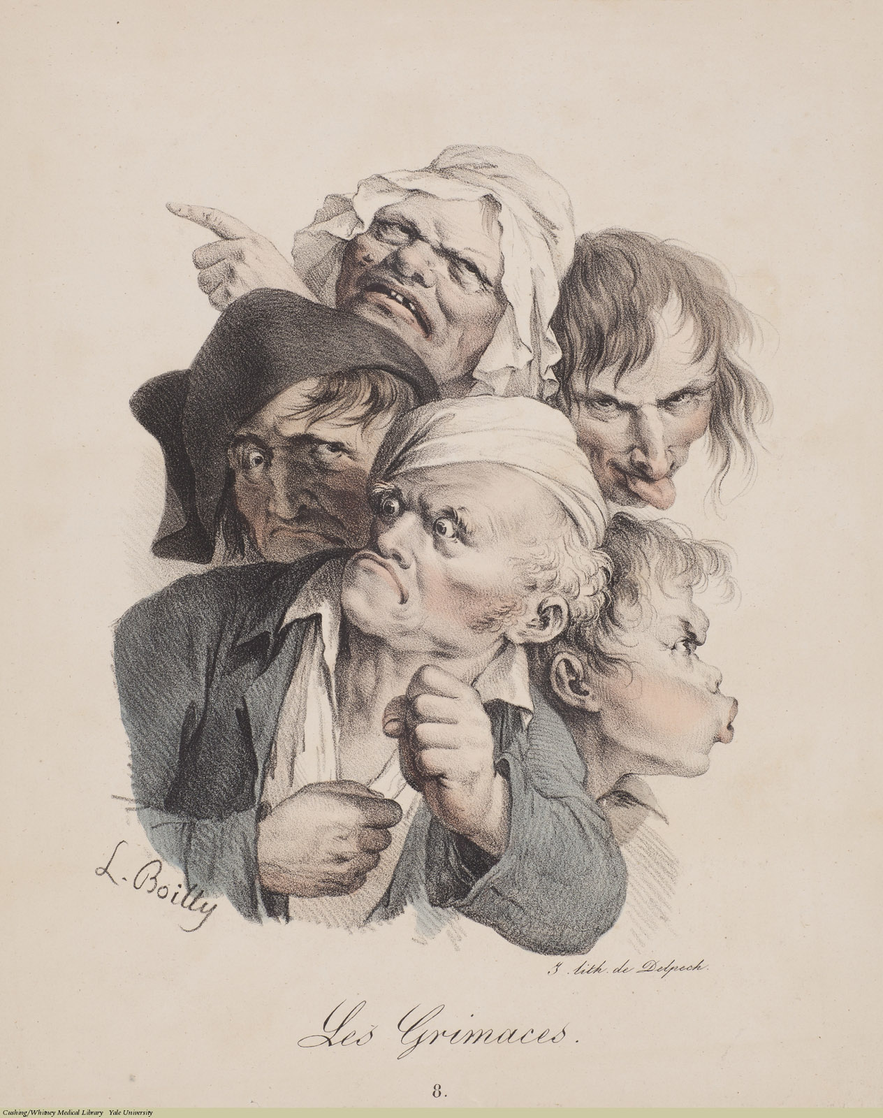 Les Grimaces 8, Louis-Léopold Boilly, Lithograph, 1823.