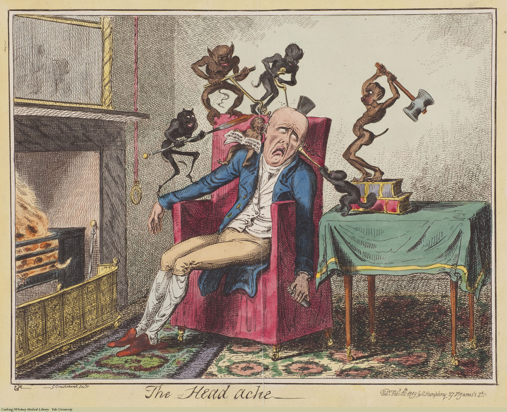 The Headache, George Cruikshank. Etching coloured. Subject: Headache, Devils & Demons.