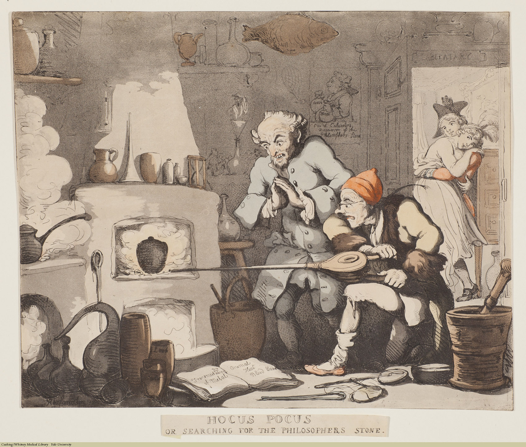 Hocus Pocus Or Searching For The Philosopher's Stone. Thomas Rowlandson, Aquatint coloured, 1800. Subject: Count Alexander Cagliostro (Giuseppe Balsamo), Alchemy, Sex.