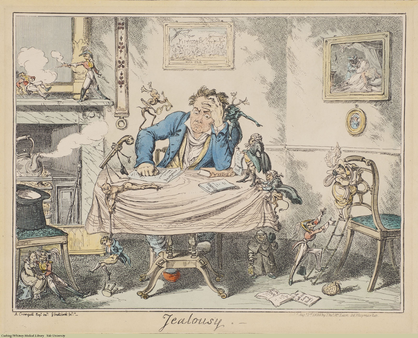 Jealousy, George Cruikshank, Etching coloured. Subject: Jealousy, Emotions, Devils & Demons.