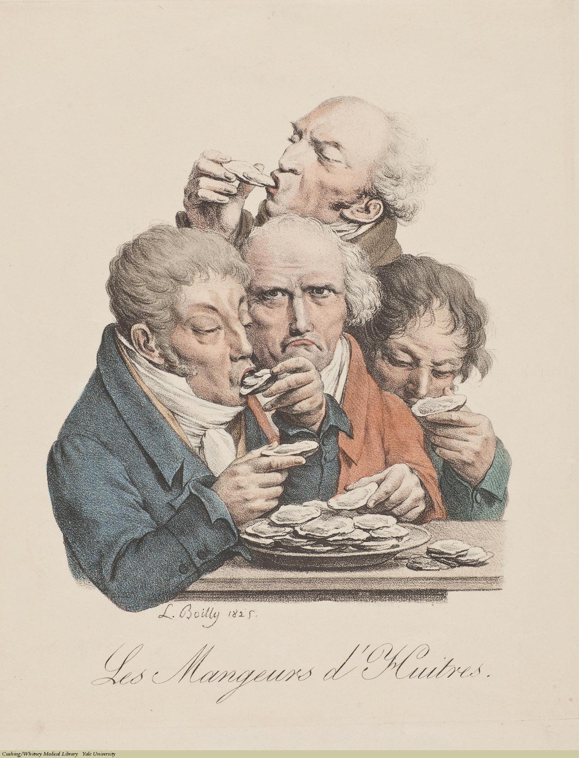 Louis-Léopold Boilly, Les Mangeurs d'Huitres (aphrodisiacs), Lithograph, 1825.