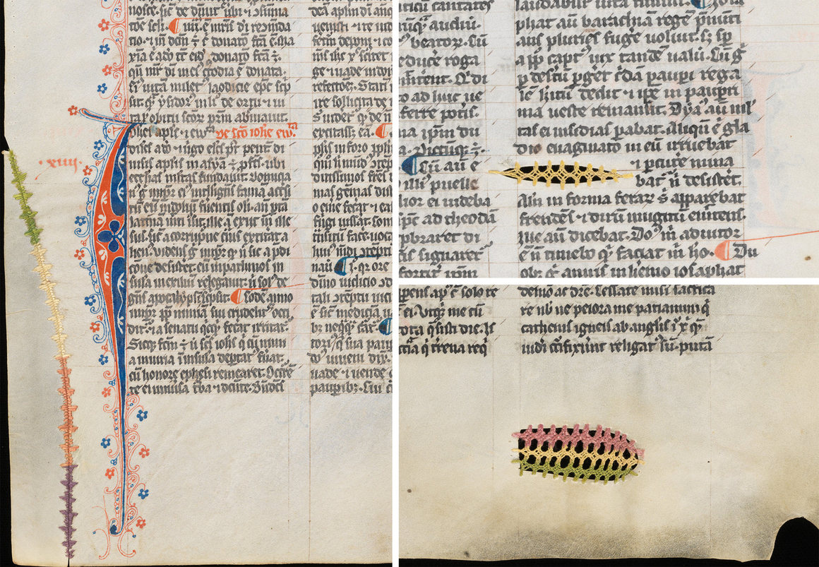 A series of repairs made in James of Voragine's 14th-century Golden Legend. Courtesy Cantonal and University Library Fribourg, Switzerland, Ms. L 34.