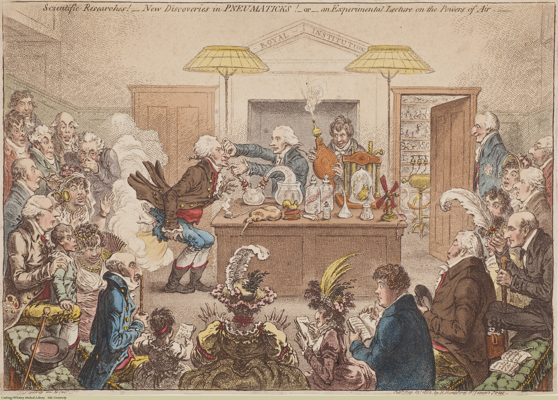New Discoveries in Pneumaticks!: or an Experimental Lecture on the Powers of Air, James Gillray, Etching coloured, 1802. Subject: New Discoveries, Equipment, Supplies, Teaching.