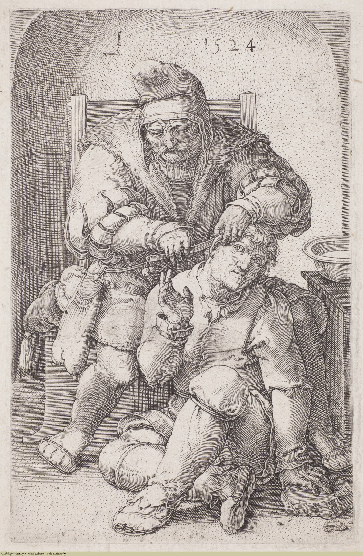 The Surgeon. Lucas van Leyden, Laid, 1524. Subject: Surgeons & Surgery, Rural Medicine.