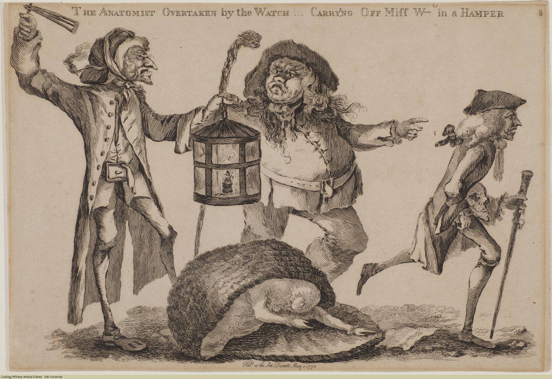 The Anatomist Overtaken by the Watch in Carring Off Miss W- in a Hamper. William Austin, Etching, 1773. Subject: Graverobbing, William Hunter.