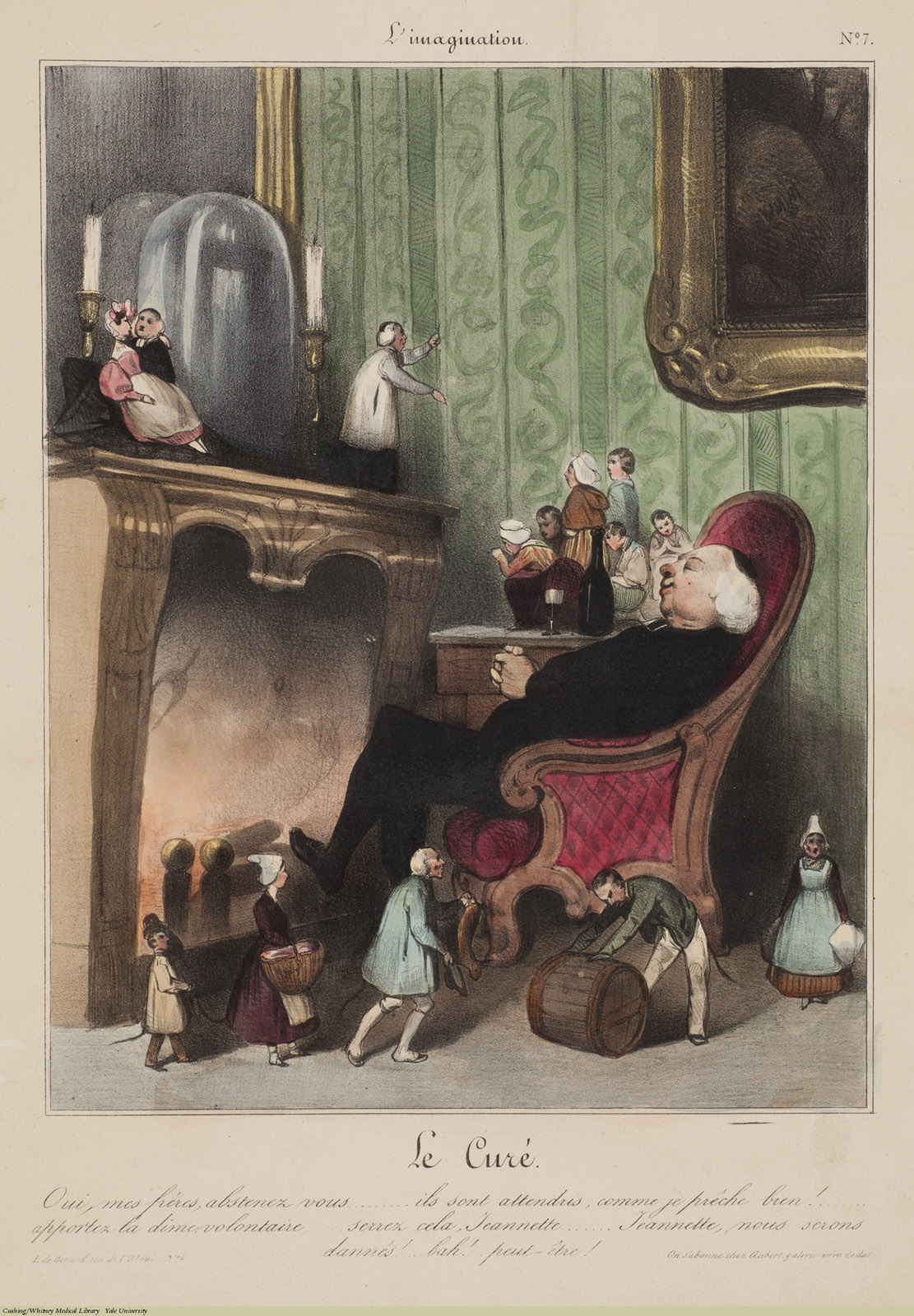 Le Cure. Oui, mes freres... Charles Ramelet / Honore Daumier, Lithograph coloured. Subject: Alcohol, Sleep.