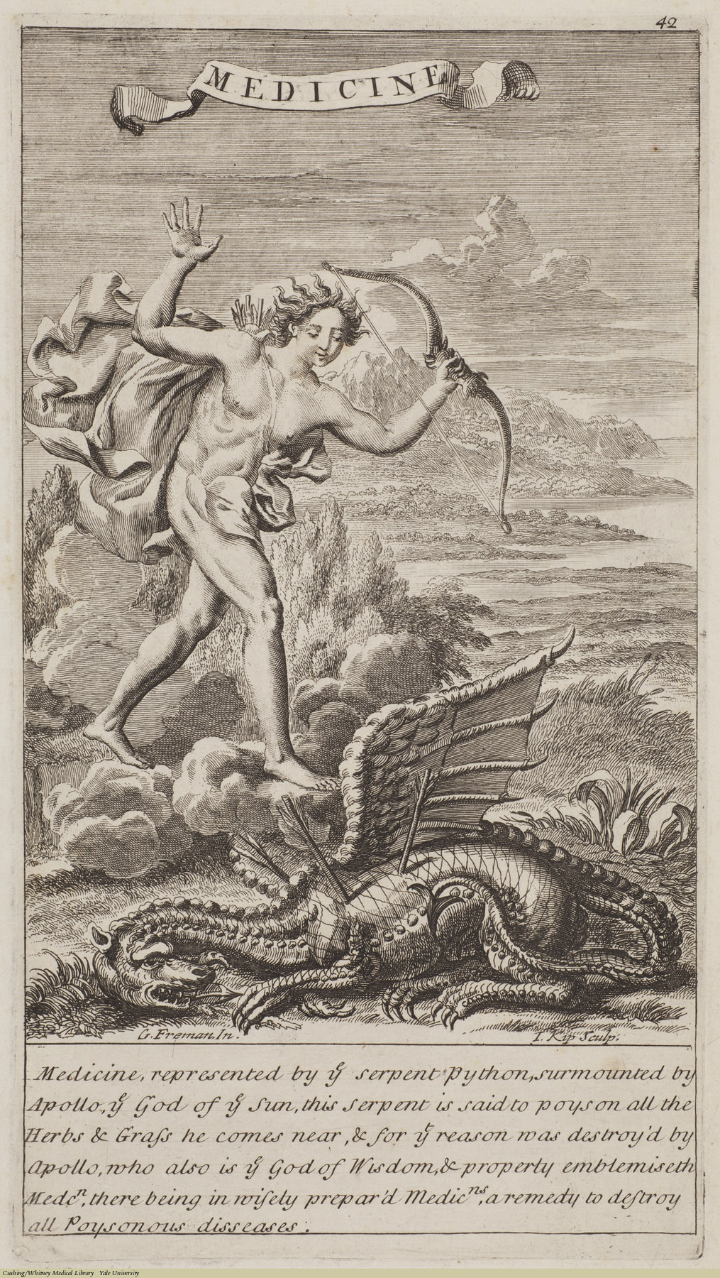 Medicine. Jan Kip (1652-1722), Laid. Subject: Apollo, Python, Mythology, Drugs.