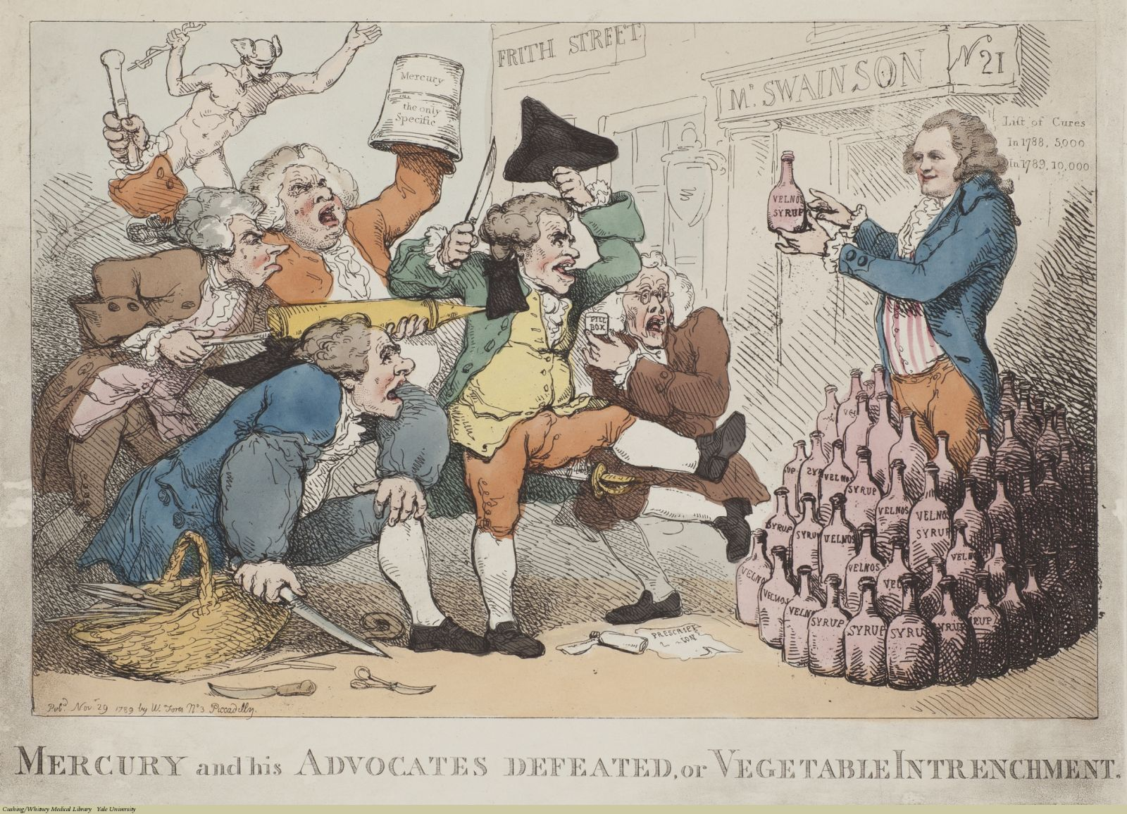 Mercury and his Advocates Defeated, or Vegetable Intrenchment. Thomas Rowlandson, Etching coloured, 1789. Subject: Isaac Swainson, Velnos Syrup, Proprietary Medicines.