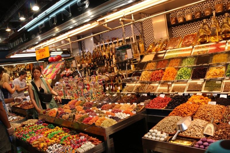 Colourful displays of sweets and marzip figures.