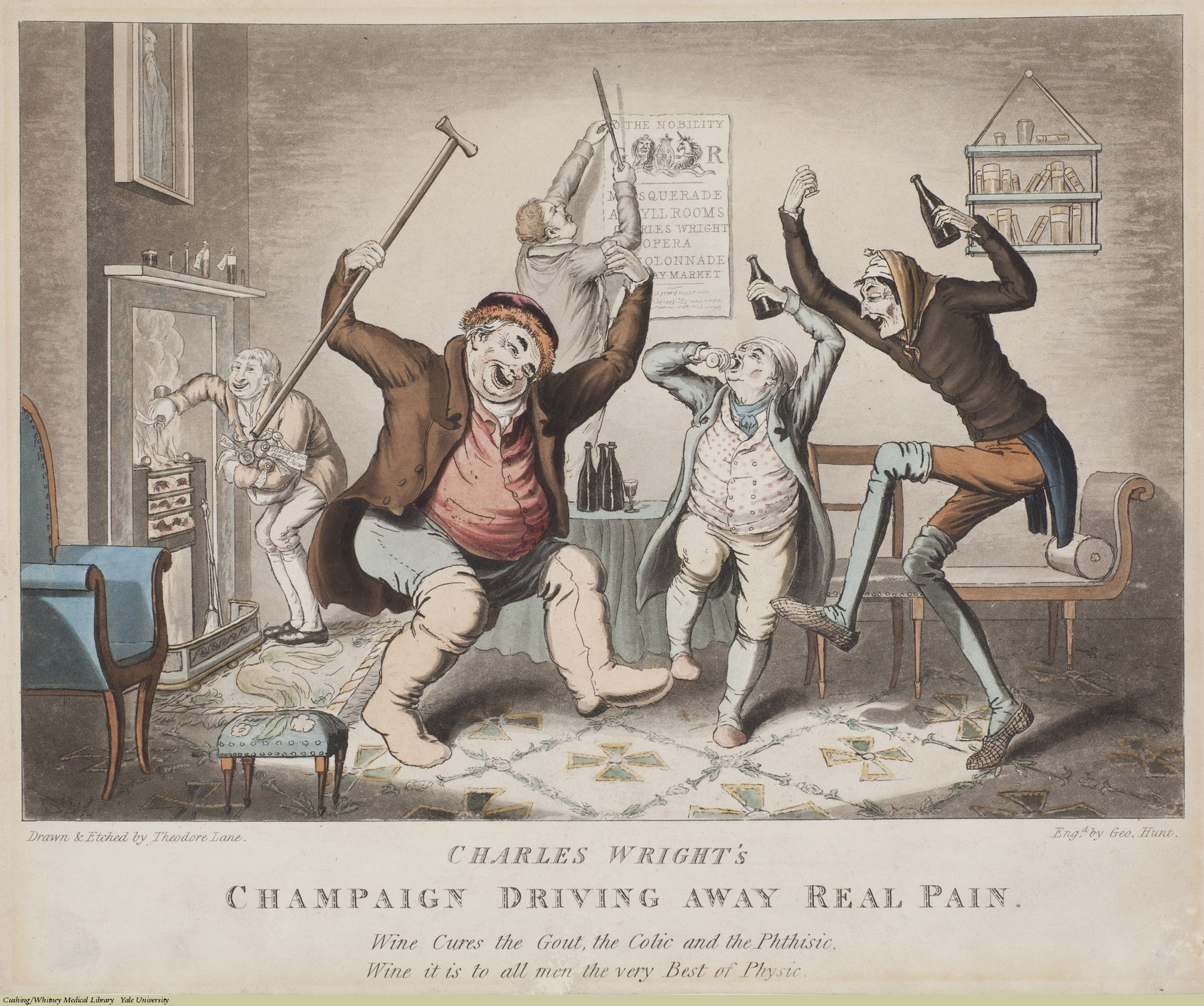 Charles Wright's Champaign Driving Away Real Pain. Theodore Lane, Aquatint coloured, ca. 1824-26. Inscription: Wine Cures the Gout, the Colic and the Phthisic, Wine it is to all men the very Best of Physic. Subject: Charles Wright, Alcoholic Beverages, Wine, Gout, Cholic, Asthma.