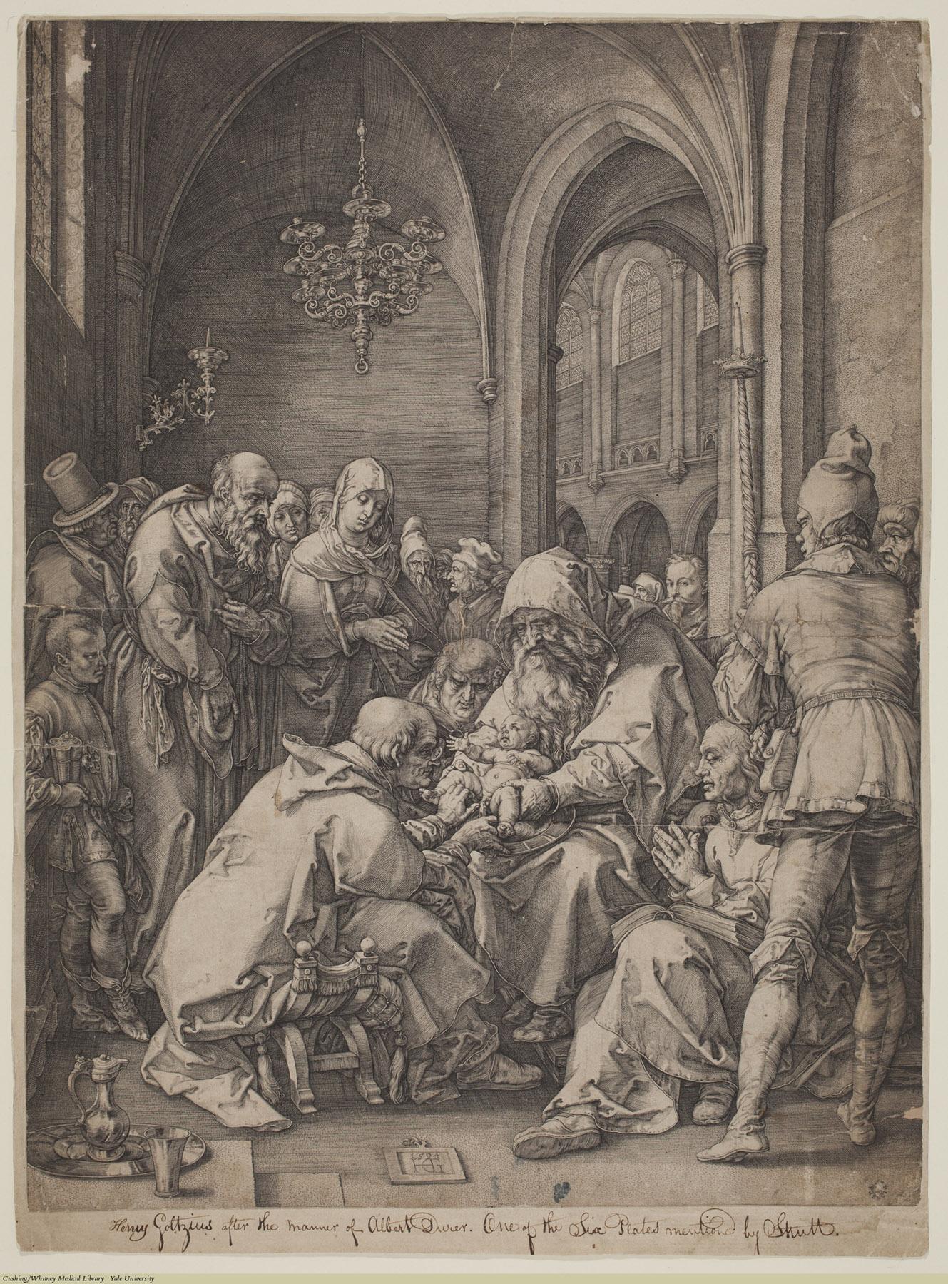 Circumcision. Hendrick Goltzius, Engraving, 1594. Subject: Circumcision, Religion.