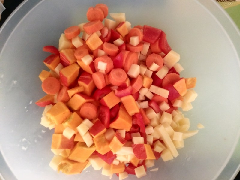 Bowl with diced vegetables.