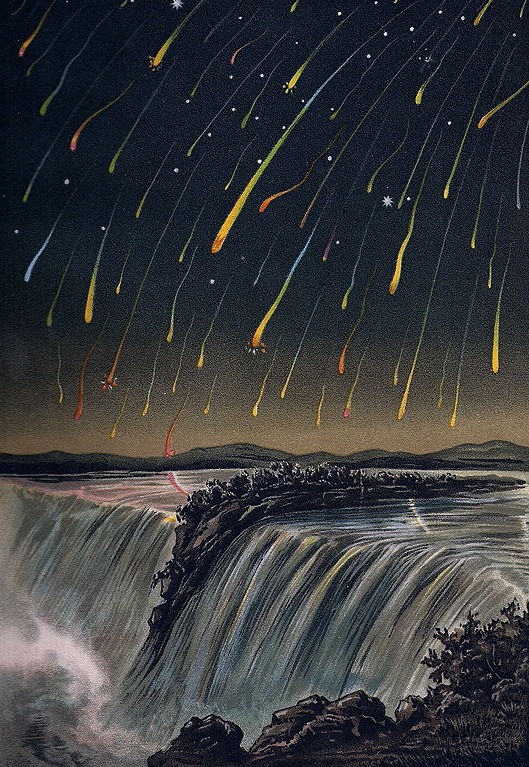 Leonid Meteor Storm, as seen over North America on the night of November 12-13, 1833, from E. Weiß's Bilderatlas der Sternenwelt (1888) – Source.