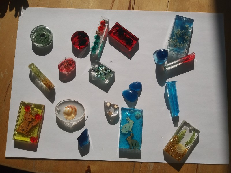 Selection of resin objects