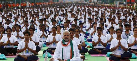 Prime minister Modi on June 21, 2015 , New Delhi