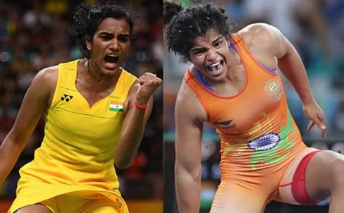 P V Sindhu (left) and Sakshi Malik