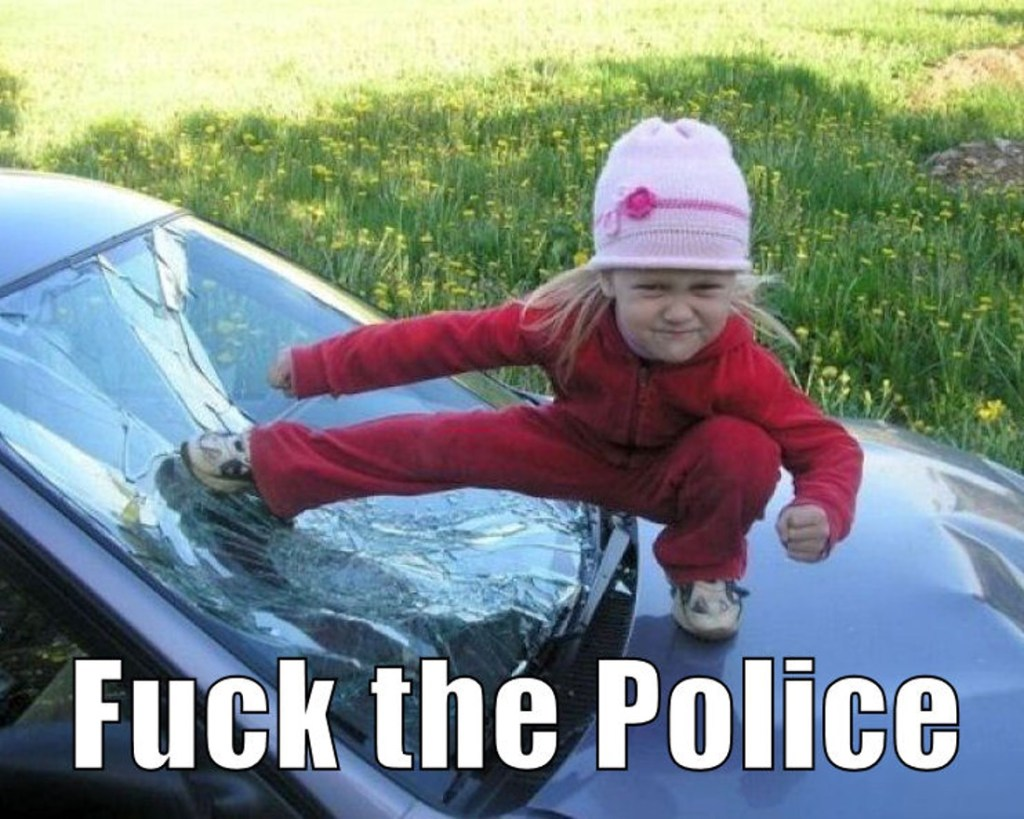 """very young girl in pink striking an aggressive pose on the hood and windshield of a car, with a caption that reads """"Fuck the Police."""""""