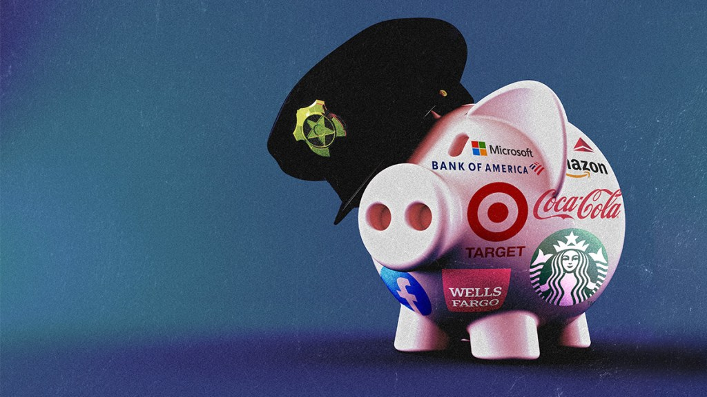 pinkish piggy bank plastered with well-known corporate logos and wearing a police hat.