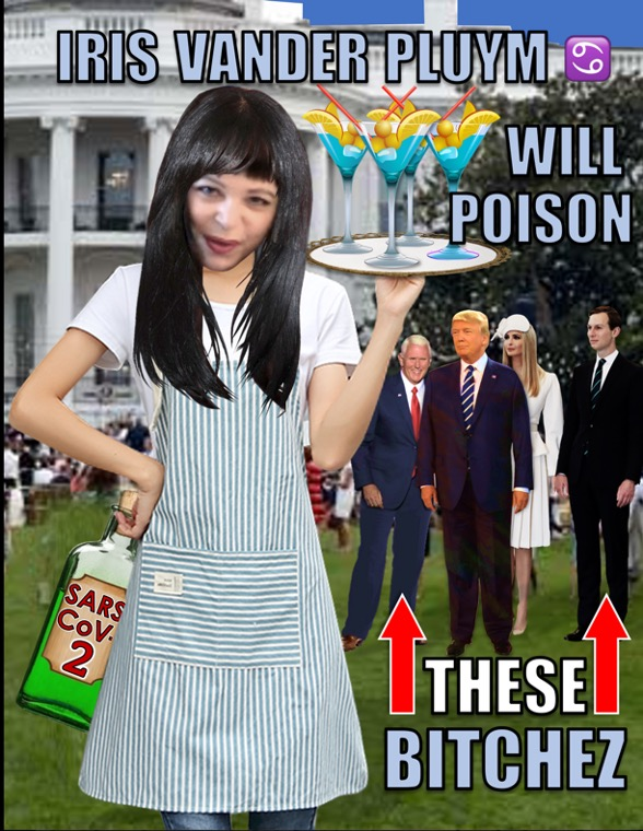 "Iris posing as a server at a party on White House lawn, standing near Donald Trump, Mike Pence, and Ivanka & Jared. Iris carries a tray of 4 festive drinks, and conceals behind her a liquour bottle marked ""SARS-CoV-2."""