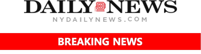 """New York Daily News logo with """"breaking news"""" banner"""