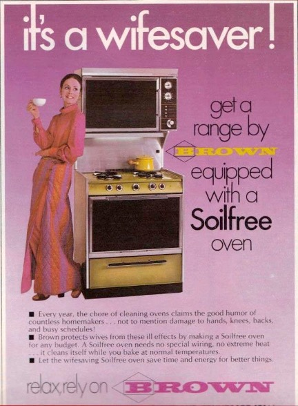 """1970s Brown Brand """"Wifesaver"""" range ad feat. photo of smiling white woman in a floor-length, pink gown, leaning against the appliance and holding a teacup."""