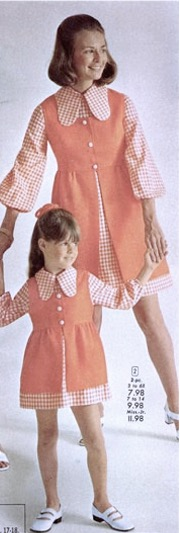 1970s clothing ad feat. photo of mother and daughter holding hands wearing matching pink and white dresses.